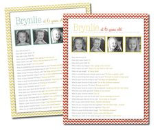 Free Birthday Questionnaire Printables! Capture your child each year!