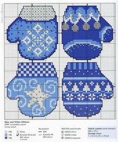 """Mittens in blue and  """" Christmas """" colours, found on : http://make-handmade.com/2011/12/14/christmas-stocking-embroidred-pattern/"""