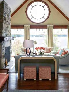 This rustic modern lake house was designed by Anne Hepfer Designs, located along Lake Joseph, in Seguin Township, Ontario, Canada. Modern Lake House, Modern Cottage, Rustic Cottage, Coastal Cottage, Cottage Design, California Homes, Log Homes, Modern Rustic, Modern Furniture