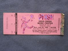 Phish, Deer Creek Music Center, 7/25/1999, 26.50