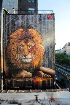 Massive Lion Mural by South African Street Artist Sonny in New York City