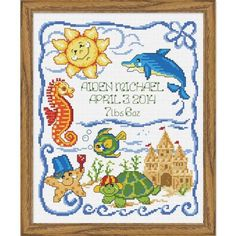 Baby by Herrschners® Under the Sea Baby Birth Record Counted Cross-Stitch Kit