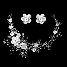 Swarovski Crystal Porcelain and Pearl Floral Bridal Jewelry Set