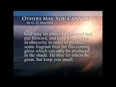 """Others May, You Cannot"" by G.D. Watson- reflections for an authentic journey of faith."