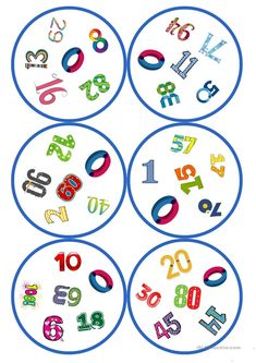 Games in German lessons: Dobble - numbers cards / 6 symbols) - School - Long life English Games, English Activities, Activities For Kids, Montessori Materials, Teaching Materials, Circle Game, Diy Games, Kindergarten Math, Board Games