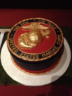 United States marine corps cake at a wedding Marine Corps Cake, Marine Corps Birthday, Military Cake, Military Wedding, Marine Graduation, Graduation Ideas, Marine Core, Usmc, Marines