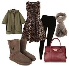 cheetah print dress brown uggs leggings scarf purse and jacket