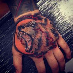 Tom Bartley as featured on Swallows & Daggers. www.swallowsndaggers.net #tattoo #tattoos #bear #hand
