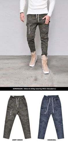 Camouflage Banding Cargo-Pants 258 by Guylook.com  Great quality pre-washed cotton spandex blends with excellent flexibility Elastic banding waist & multi cargo pockets Super comfy & absolutely flattering slim pattern Absolutely recommended must-have bottom for your stylish everyday look