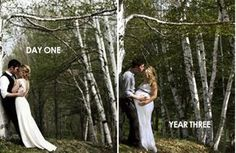 Go back to where your wedding pictures were taken and take a picture to mark another milestone.