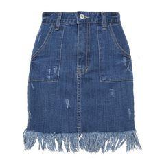 Denim Fringe Pocket Mini Skirt (580 DKK) ❤ liked on Polyvore featuring skirts, mini skirts, bottoms, denim, short mini skirts, blue denim mini skirt, short blue skirt, short denim skirts and blue mini skirt