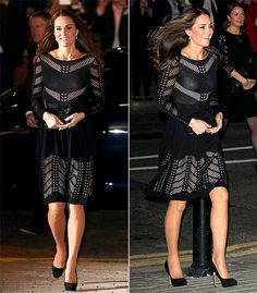 Pregnant Kate Middleton looked stunning in a black knee-lengh Temperley London flare dress at the Autumn Gala Evening dinner and reception in London.