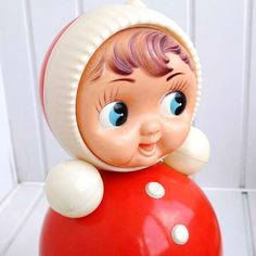 Vintage Roly Poly Ding Doll - Nevalyashka - Red - - from Russia / Soviet Union / USSR Vintage Toys, Vintage Stuff, Soviet Union, Decoration, Mittens, 1970s, Russia, Kids Room, Dolls