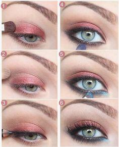 Tips para mujeres: Maquillaje para ojos en color azul y rosa #sombras #maquillaje
