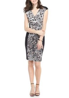 Connected Apparel BlackTaupe Printed Panel Jersey Sheath Dress