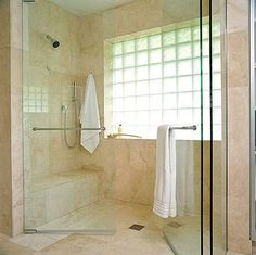 Small Bathroom 6: Shower Room:  using glass blocks on outside shower wall....love it!!!