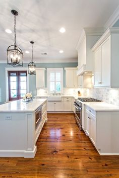 Love this kitchen! Light cabinets, backsplash, c .. - CLICK THE PIC for Various kitchen Ceiling Lighting Ideas. #modernlighting #kitchenlighting