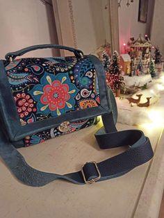 Sac Quadrille bleu feuri cousu par Elena - Patron Sacôtin