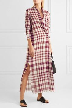 Theory - Jinniefield Wrap-effect Plaid Cotton Shirt Dress - Red
