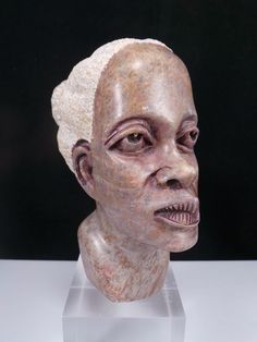 Hand Carved Marble Stone African Woman Head Bust Sculpture Folk Art