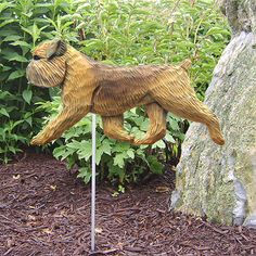 4 Coat Styles-Brussels Griffon Natural Dog Figure Garden Stake. Home,Yard Dog Products & Gifts