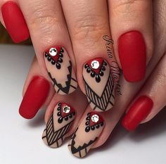 75 stylish spring flower nail art designs and ideas 28 Elegant Nail Designs, Elegant Nails, Beautiful Nail Designs, Nail Art Designs, Nails Polish, Matte Nails, Red Nails, Art Simple, New Year's Nails
