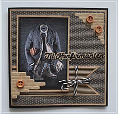 En ny dies i posten igår og selvfølgelig måtte den prøves:)   Ark Authentique.   Bilde nettet.   Hyssing Søstrene Grene.   Murstein die... Card Making Inspiration, Making Ideas, Scrapbook Paper Crafts, Scrapbook Pages, Box Photo, Confirmation Cards, Suit Card, Homemade Greeting Cards, Marianne Design