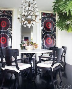 LOVE the look - B&W with a dash of color - Elle Decor