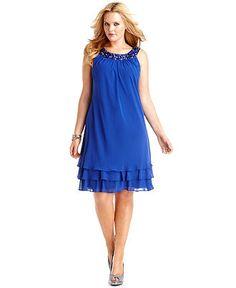 SL Fashions Plus Size Dress, Sleeveless Sequin Tiered - Plus Size Dresses - Plus Sizes - Macy's