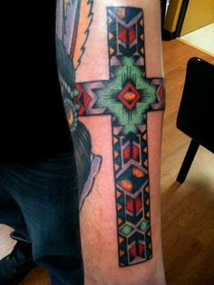 southwest style cross tattoo southwest style cross on forearm Rate of pictures of tattoos, submit your own tattoo picture or just rate others Dream Tattoos, Badass Tattoos, Future Tattoos, Cool Tattoos, Tatoos, Western Tattoos, Native Tattoos, Crucifix Tattoo, Filipino