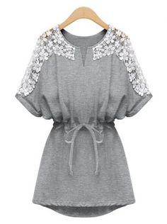 Laconic Scoop Neck Lace Splicing Short Sleeve Women's Dress