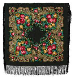 Платки 89х89 : Незнакомка 779-18, павлопосадский платок шерстяной с шелковой бахромой