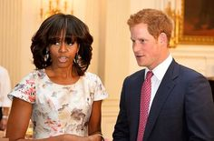 Visit to the White House...Michelle Obama welcomed Prince Harry to her home after his arrival in the U.S.