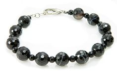 Banded Onyx and Black Spinel Bracelet