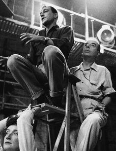 """Gene Kelly and Vincent Minnelli on the set of """"Brigadoon"""", MGM, Photographed by Bob Willoughby. Hollywood Music, Hollywood Stars, Classic Hollywood, Old Hollywood, Classic Jazz, Turner Classic Movies, Old Film Stars, Hattie Mcdaniel, An American In Paris"""