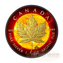 2015 RCM 1 Ounce Solar Flare Maple Leaf Ruthenium & Gold Colored Silver Coin Set - Art in Coins Canadian Maple Leaf, Canadian Coins, Canadian Flags, Bullion Coins, Gold Bullion, Maple Leaf Images, Silver Maple Leaf, Coin Shop, Silver Eagles