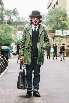 台北 Dong Chu, TAIPEI. Ho Chung Wei, camera lens repair technician. Uniqlo sweater, PLAIN shirt and pants (Taiwan brand), Red Wing shoes, Ray-Ban glasses.
