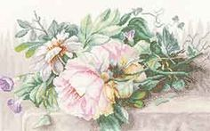 Peonies and Morning Glory Cross Stitch Kit By Marjolein Bastin for Lanarte