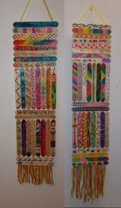 I had my people decorate tongue depressors and put them together with fringe on the bottom. Great wall hangings!