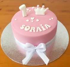 "1"" aniversario Mini bolo Bolo Cakedesign Menina  Princesa Rosa"