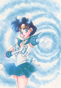 セーラーマーキュリー / 水野亜美 Sailor Mercury / Ami Mizuno - art by Naoko Takeuchi for Sailor Moon