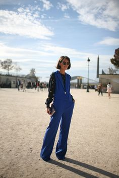 Outside the Paris shows  The cobalt blue making another  entrance into Fall