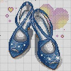 0 point de croix chaussures bleues - cross stitch blue shoes