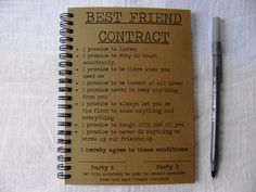 Best Friend Contract 5 x 7 journal by JournalingJane on Etsy, $6.00