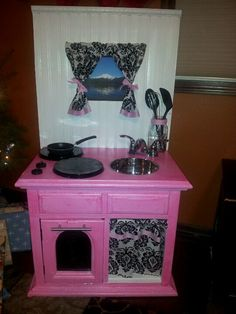 DIY kids play kitchen I made for my daughter  Christmas 2012!!!