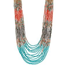Long Seed Bead Colorblock Multi Strand Necklace, Women's, Ovrfl Oth