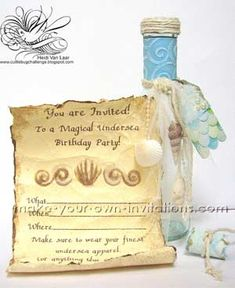 Mermaid birthday party invitations! Look at the mermaid tail tag. So cute!