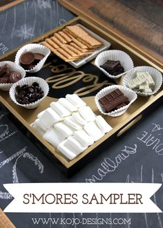 s'mores sampler platter - maybe with homemade marshmallows and crackers for after a BBQ!