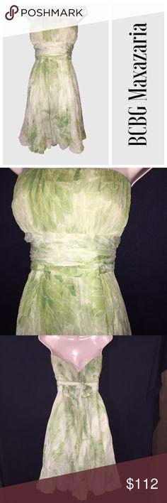 Strapless green flowey silk dress Size 12. 200% silk. Bust: 18 1/2 inches. Waist: 15 inches. Length: 32 inches BCBGMaxAzria Dresses Strapless