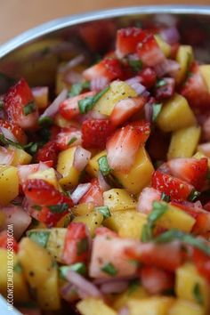 Strawberry Mango Salsa 3/4 Cup Strawberries, finely diced 3/4 Cup Mangos, finely diced 1/4 Cup Red Onion, finely chopped 6 Basil Leaves, finely chopped 1 TBSP Fresh Lemon Juice 1/4 tsp. Sea Salt 1/4 tsp. Black Pepper Combine all ingredients and allow to sit in the refrigerator for a few hours, covered.